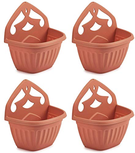 Whitefurze Plastics Athens Terracotta Colour Plastic Wall Hanging Planter Pot (Set of 4)