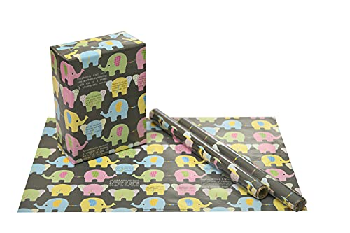 eVincE 10 Elephant Birthday Gift Wrapping Paper Bundle | first jungle theme baby kids Christmas Hanukkah New year | toddler party Recyclable, Scrapbook craft 70 x 50 cms | fun wrap