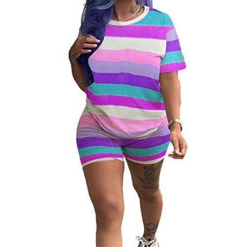 Fliegend Femme Ensemble de Sport Survêtement Ete Grande Taille T-Shirt Manches Courtes Sport Short 2 Pièce Combinaison de Jogging Course XL