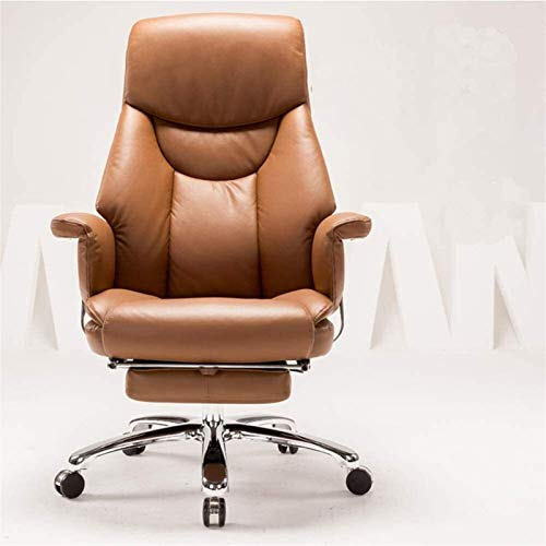 Bureaustoel Ergonomische stoel Directiebureau PU-leer Hoge rug Thuiscomputer Kantoor met voetensteun (Kleur: Bruin, Afmeting: 52x50x116)
