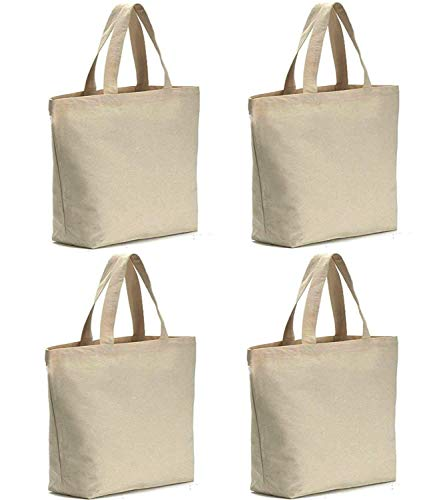 Axe Sickle 4PCS Canvas Tote Bag Bottom Gusset 16 X 16 X 5 inch Heavy 12oz Tote Shopping Bag, Washable Grocery Tote Bag, Craft Canvas Bag with Handle, White.