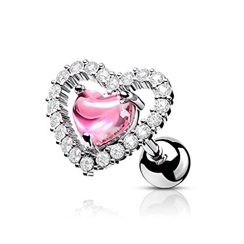 beyoutifulthings Mujer Hombre Niños Unisex acero inoxidable Pink rosa incoloro Cubic Zirconia
