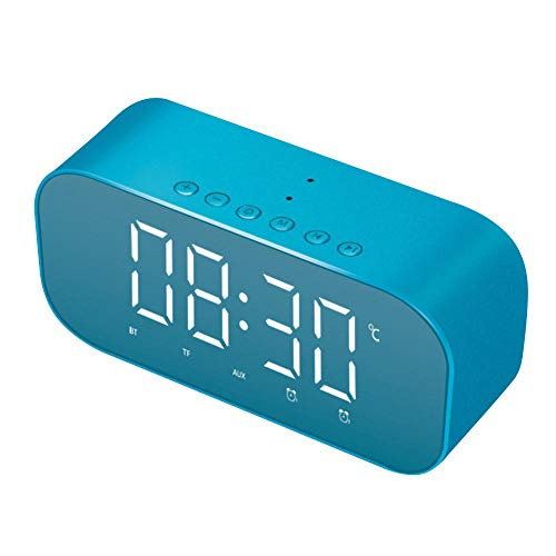 FPRW Digitale LED-wekker, smartwatch, draadloos, Bluetooth, digitale klok, multifunctioneel, voor buiten, slaapkamer, blauw
