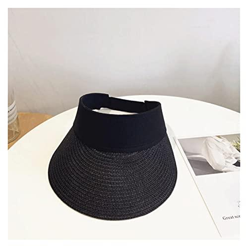 CDDKJDS Cinta Mágica Mujer Sombrero De Paja Vacío Top De Verano Sombrero Sol Protección Al Aire Libre Deportes Pesca Playa Pala (Color : Black, Size : One Size)