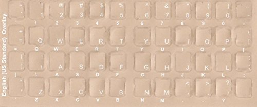 English Keyboard Stickers, Labels.White Transparent Characters for Black Color Keyboards. Made of Lexan Material and 3M Adhesive