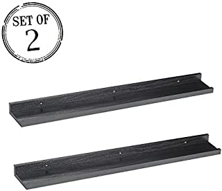 O&K FURNITURE Picture Ledge, Picture Display Wall Shelf Gallery (Black Oak, 31.5