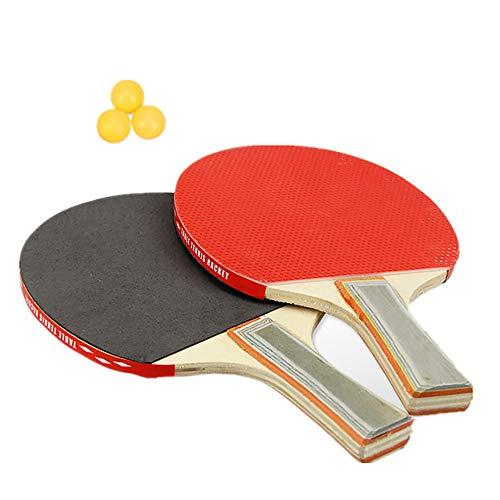 Juego de tenis de mesa 2 palas de ping pong y 3 pelotas de ping pong, ideal para principiantes y niños, raqueta de tenis de mesa con hoja de madera