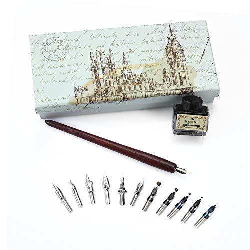 Schreibfeder-Set – Kalligraphie-Stift-Set – Metallspitze, Vintage-Schreibfeder zum Eintauchen, Geschenk-Set Kalligraphie-Set aus Holz