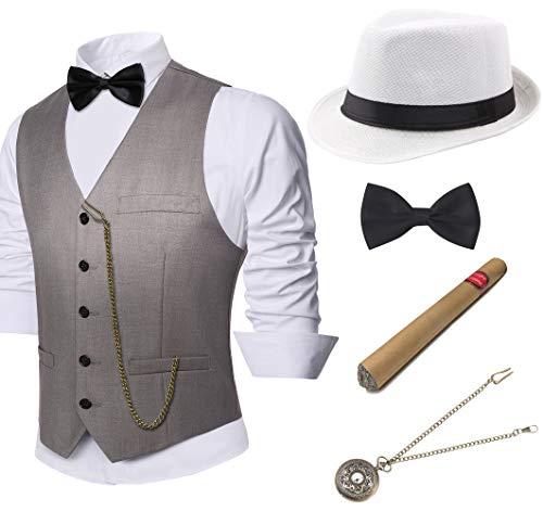 Coucoland 1920s Accessoires Herren Mafia Gatsby Kostüm Set inklusive Panama Gangster Hut Herren Weste Halsschleife Fliege Taschenuhr und Plastik Zigarre (Grau, XL)