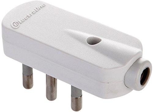 VELAMP PLUG-IT-10AK Spina Squadra 90°, 2P+T, 10A, Salvaspazio, Bianco, 1 unità