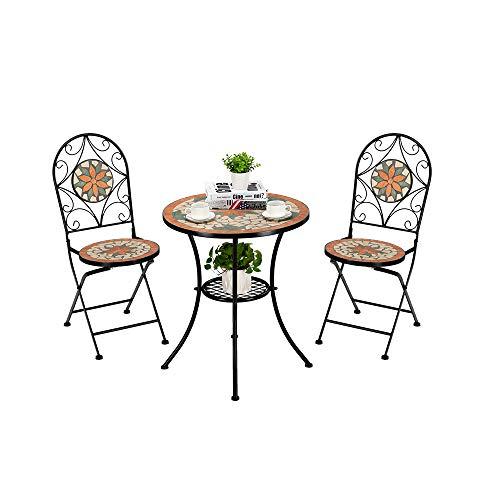 SUFUBAI Juego de mesa y sillas de mosaico, 3 piezas, mesa de mosaico de jardín, juego de mesa de mosaico al aire libre con sillas plegables, muebles de jardín para patio trasero, jardín, porche