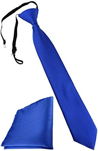 TigerTie Kinderkrawatte + Einstecktuch in blau royal - vorgebunden mit Gummizug