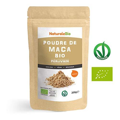 Maca Bio en Poudre [ Gélatinisée ] 200g | Organic Peruvian Maca Root Powder | 100% Biologique, Naturel et Pur, Produit au Perou de Racine de Maca Bio | NATURALEBIO