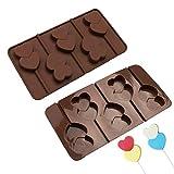 decorazioni Hallowween 5 Formica del silicone della muffa del cioccolato della lollipop della lollipop addirittura del doppio cuore per il pudding del sapone Gelatina della caramella del ghiaccio Stam