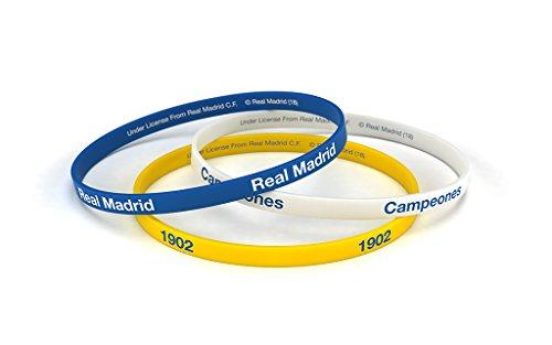 Real Madrid Club de Fútbol - Braccialetti del Real Madrid, tricolore, misura standard per uomo, bracciale di silicone, prodotto ufficiale