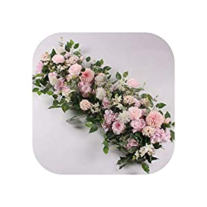 Heart-To-Heart 1M DIY Artificial Wedding Flower Wall Backdrop Arrangement Supplies Silk Rose Peony Fake Flowers Row Decoration for Arch,Pink,50Cm