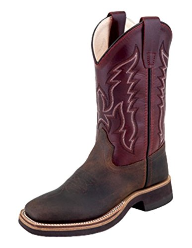 Old West Boys' Two Tone Leather Cowboy Boot Square Toe Brown 13 D