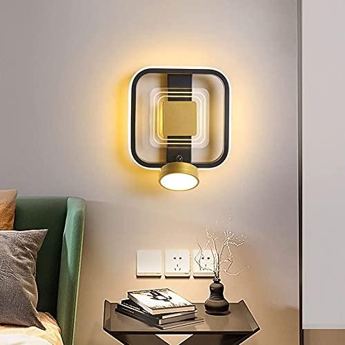 DHRH Lámpara de Pared LED para Interiores Moderna, lámpara de Noche para Dormitorio con iluminación de Lectura Ajustable y, 3 Colores, LED giratoria, Aplique de Pared, acrílicos, Cuadrado