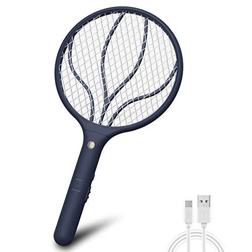 Lukasa Eléctrico Mosquito Mosca Matamoscas Zapper, Plagas Insectos Asesino Repelente Raqueta eléctrica (Azul Marino)