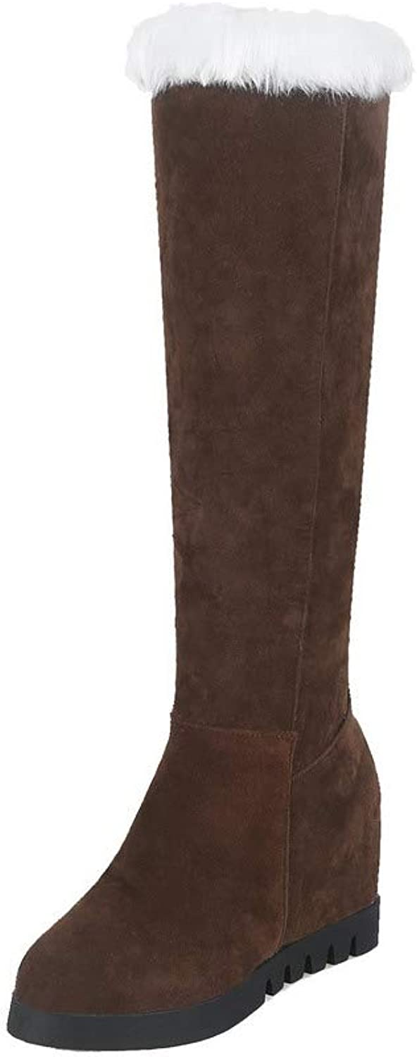WeiPoot Women's Frosted Knee-High Assorted color Pull-On High-Heels Boots, EGHXH112729
