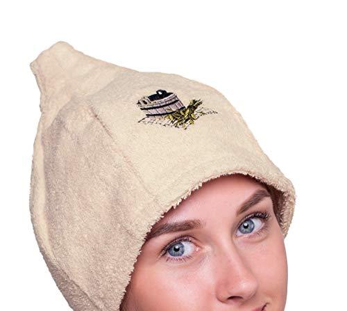 Ger3as 6 Farben Saunahut Damen und Herren 100% Baumwolle mit Stickerei, Wellness Mütze Premium Qualität (Beige)