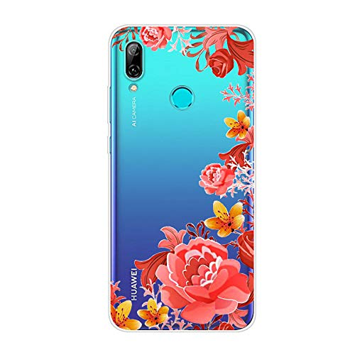 Kompatibel mit Huawei Honor 10 Lite Hülle TPU Silikon Bunt Schutzhülle,[Transparen Karikatur Silikonhülle] Hülle Gemalt,Ultra Slim Durchsichtig mit Muster Bumper Stoßfest Hülle,Rote & gelbe Blume
