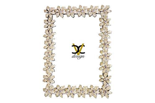 Cvc srl - Rechteckiger Bilderrahmen mit Blumen aus Silber Perlmutt, Strassapplikation von Swarovski, Größe 12,8 x 17,3 cm