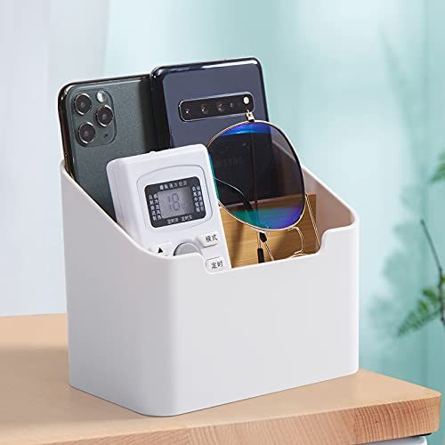 Faffooz Soporte para Mando a Distancia con 2 Compartimentos Organizador de Escritorio Titular del Control Remoto para Accesorios de Medios para DVD, BLU-Ray, TV, Roku o Apple TV