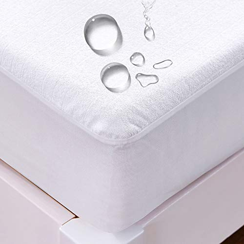 LISI Waterproof Mattress Protector Old Man Incontinence Pad 100% Cotton Hypoallergenic Mattress Pad Cover Fitted 3-33 cm Deep Vinyl Free Bedding,White,140x200x30cm
