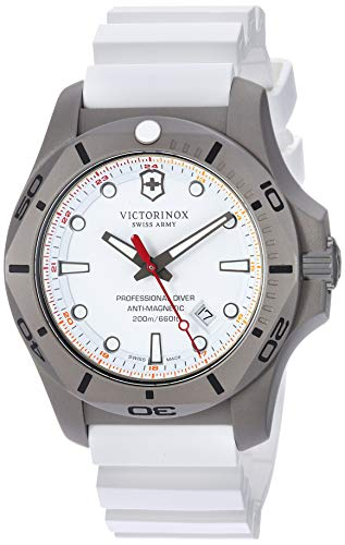 Victorinox Swiss Army Men's I.N.O.X. Titanium Swiss-Quartz Diving Watch with Rubber Strap, White, 22.4 (Model: 241811)