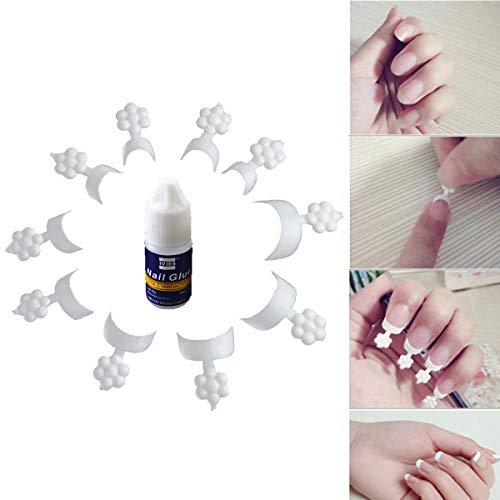 AYEMOY False Nails, French Chip-proof Manicure Kit, Urze Französische Nail Art-tipps, Falsche Nägel Mit Kleber French Manicure Short, Nagelaufkleber, Französische Diy Manicure Art-tipps (Weiß)