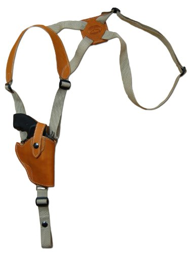 Barsony Saddle Tan Leather Vertical Cross Harness Shoulder Holster for Ruger LCR 38, 357 Right