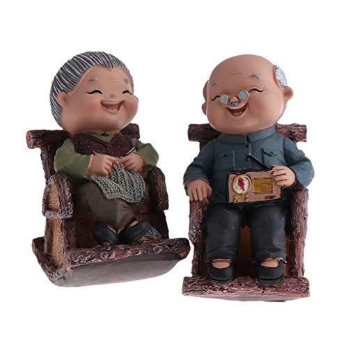 B Blesiya Chinesische älteres Liebpaar Gartenfigur Dekofigur in Vintage Haus, auch als Weihnachtengeschenk zum Papa/Mama/Opa/Oma - Schaukelstuhl