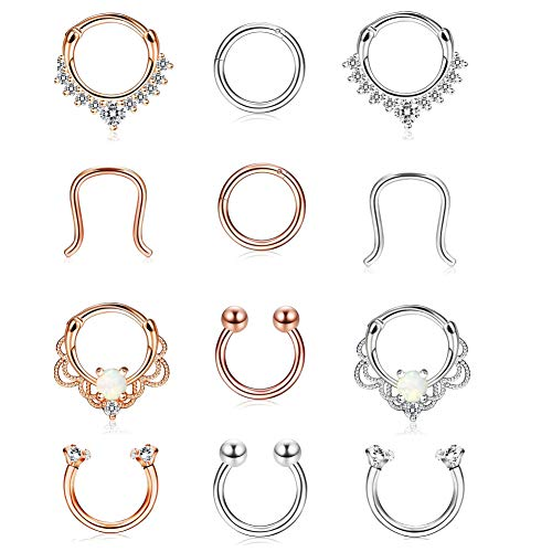 Finrezio 30pcs 20G 316L Nose Ring Hoop Stud Nose Ring Cartilage Tragus Ear Piercing Set for Women Girls