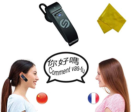Voice Language Translator Earpiece, 44 Languages Real Time Two-Way Translation, 5 Modes Multi-Language Support, Bluetooth Call Answering {2020 Upgraded Model}