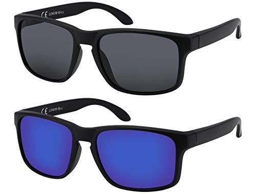 La Optica B.L.M. Sonnenbrille Herren UV400 Retro Sportbrille Fahrradbrille - Doppelpack Set Matt Schwarz (1 x Grau, 1 x Blau Verspiegelt)