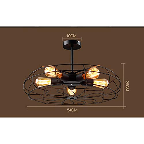 MKKM Lámparas de Techo Decorativas para el Hogar, Bar Restaurante Café Lámparas de Decoración para Clubes Nocturnos, Muebles para el Hogar Luz de Techo Lámparas de Techo Estilo Ventilador Retro Ironl