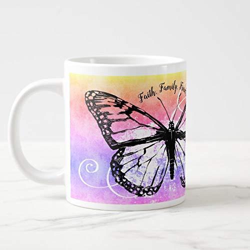 Taza de café gigante de cerámica con monograma de Butterfly Faith Family Friends, 11 onzas + caja de regalo gratis