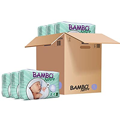Bambo Nature Eco Friendly Baby Diapers Classic for Sensitive Skin, Size 1 (4-9 lbs), 28 Count (6 Pack)