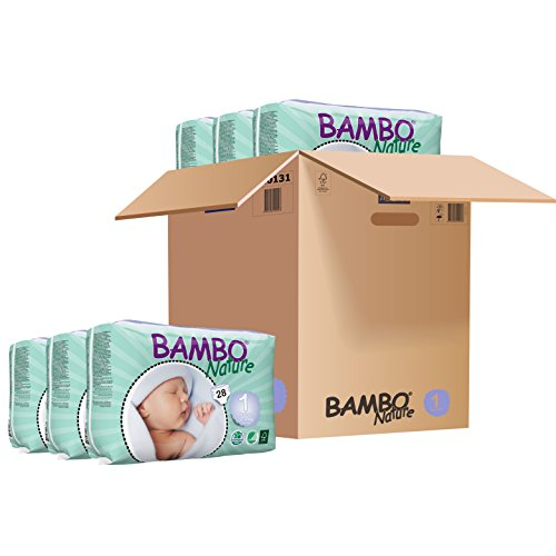 Bambo Nature Baby Diapers CLASSIC, Size 1 (4-9 lbs), 168 Count (6 Packs of 28)