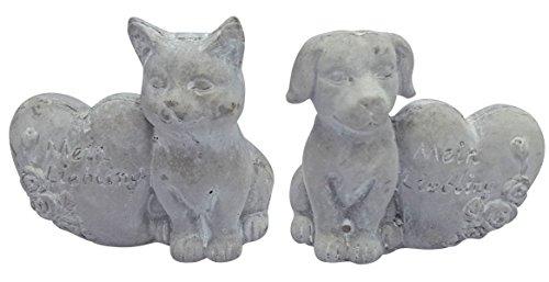 Fachhandel Plus Steinfigur Grabdeko Hund oder Katze mit Herz \'Mein Liebling\' Grabschmuck Gedenkstein, Motiv:Katze