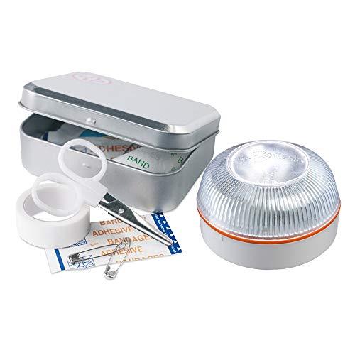 HELP FLASH PK2677 luz Emergencia AUTÓNOMA, señal preseñalización Peligro+Linterna, homologada, normativa DGT, V16, Base imantada, activación AUTOMÁTICA, y de Regalo, Caja Kit Primeros Auxilios