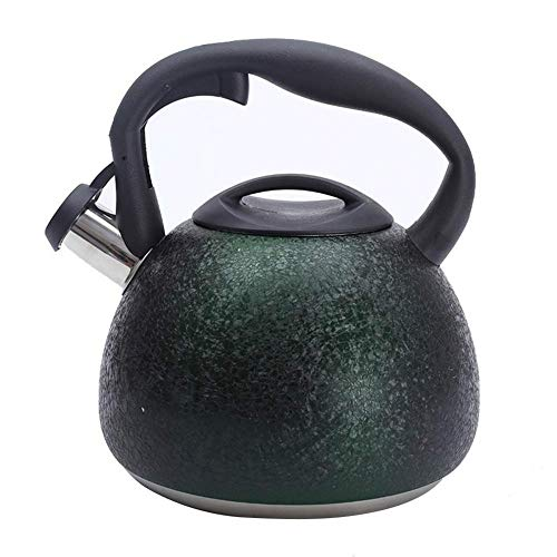 3L Stainless Steel Whistling Tea Kettle Cracks Grain Surface Tea Pot With Heat-Proof Handle - Stovetop Suitable For Heat Sources