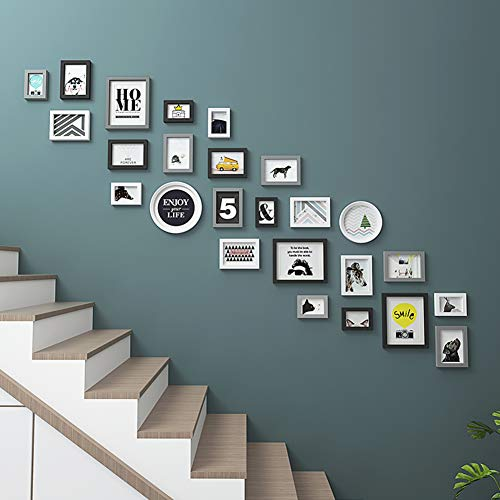 Slecht verzoek set, met volledige grootte opknoping sjabloon muur montage ontwerp massief hout foto muur voor trap