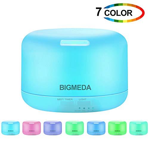 Bigmeda Humidificador Ultrasónico Aromaterapia, Difusor de Aceites Esenciales Aromaterapia, 4 Temporizador, 7-Color LED, Ultra Silencioso, Apagado Automático, 300 ml