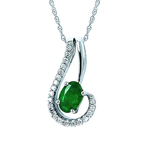 14K White Gold 6x4MM Oval Emerald & Diamond Swirl Pendant Necklace with 18' Chain