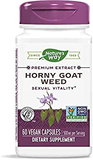 Nature's Way Premium Extract Standardized Horny Goat Weed 10% Icariin, 500 mg per serving, 60 Capsules