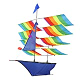 Greensen Rainbow Sailboat Kites 3D Large Colorful Kite with Single Line for Children Outdoor Game Activities Beach Trip for Kids
