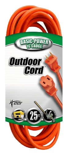 Coleman Cable 02207 16/2 Vinyl Outdoor Extension Cord, Orange, 25-Feet
