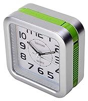 ベッドサイド目覚まし時計スヌーズ携帯用旅行目覚まし時計サイレントアナログ目覚まし時計プラスチックケース 時計 ZJSXIA (Color : Green)